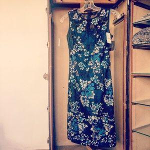 Sleeveless embroidered mesh sheath dress size 00